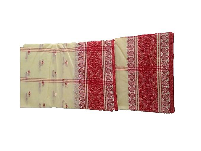 51142261ca Image Unavailable. Image not available for. Colour: Desh Bidesh Bengal Soft  Cotton Tant Saree Santipur Handloom ...