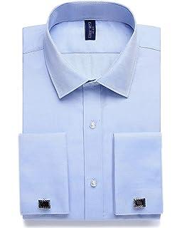 Camisa formal para hombre con cuello de borde plateado, doble puño con tacto satinado, vestido de novia, incluye corbata, pañuelo, gemelos: Amazon.es: Ropa y accesorios