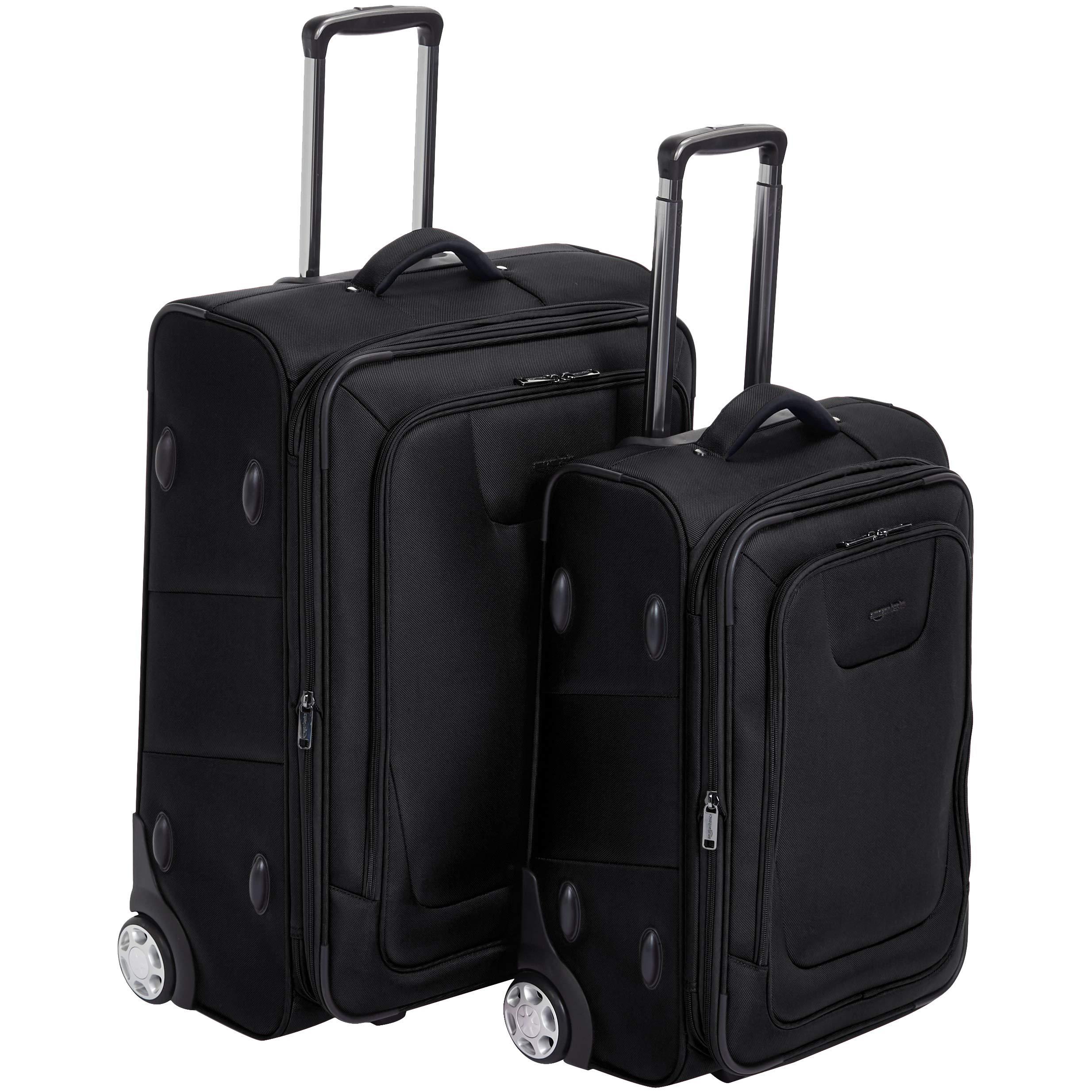 AmazonBasics 2 Piece Expandable Softside Luggage Suitcase With TSA Lock And Wheels Set - Black by AmazonBasics