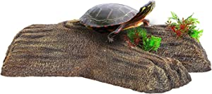 REPTI ZOO 2 in 1 Turtle Floating Bark, Artificial Turtle Floating Basking Platform Tortoise Climbing Platform with Food Dish and Plants