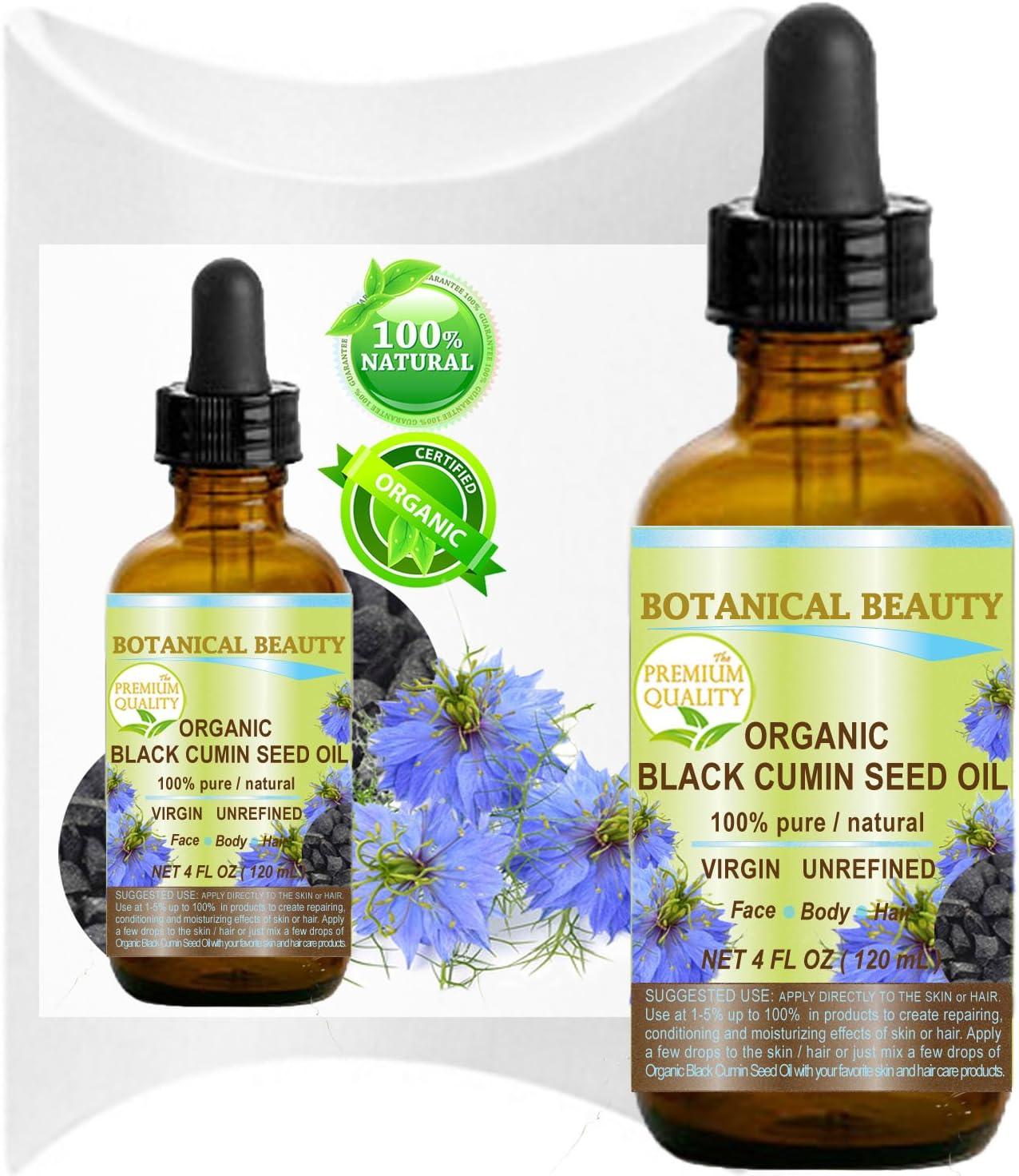 Orgánica Negro semillas de comino–Aceite de Nigella Sativa. 100% puro/Natural/Sin Diluir/Virgen. Para la piel, cabello, labios y uñas cuidado .4fl. oz.-120ml