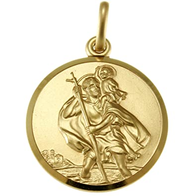 Alexander Castle 9ct Gold St Christopher Pendant Medal - 20mm - 3.7g - Includes Jewellery presentation box uXLnDQu