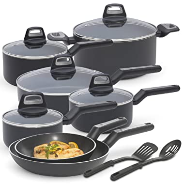 BLACK+DECKER 83365 14 Piece Durable Titanium Nonstick Interior Cookware Set, Multi-Size, Black