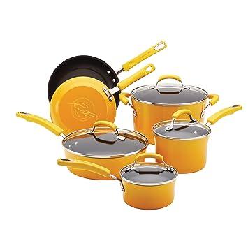 Rachael Ray duro esmalte batería de cocina antiadherente, 10 unidades): Amazon.es: Hogar