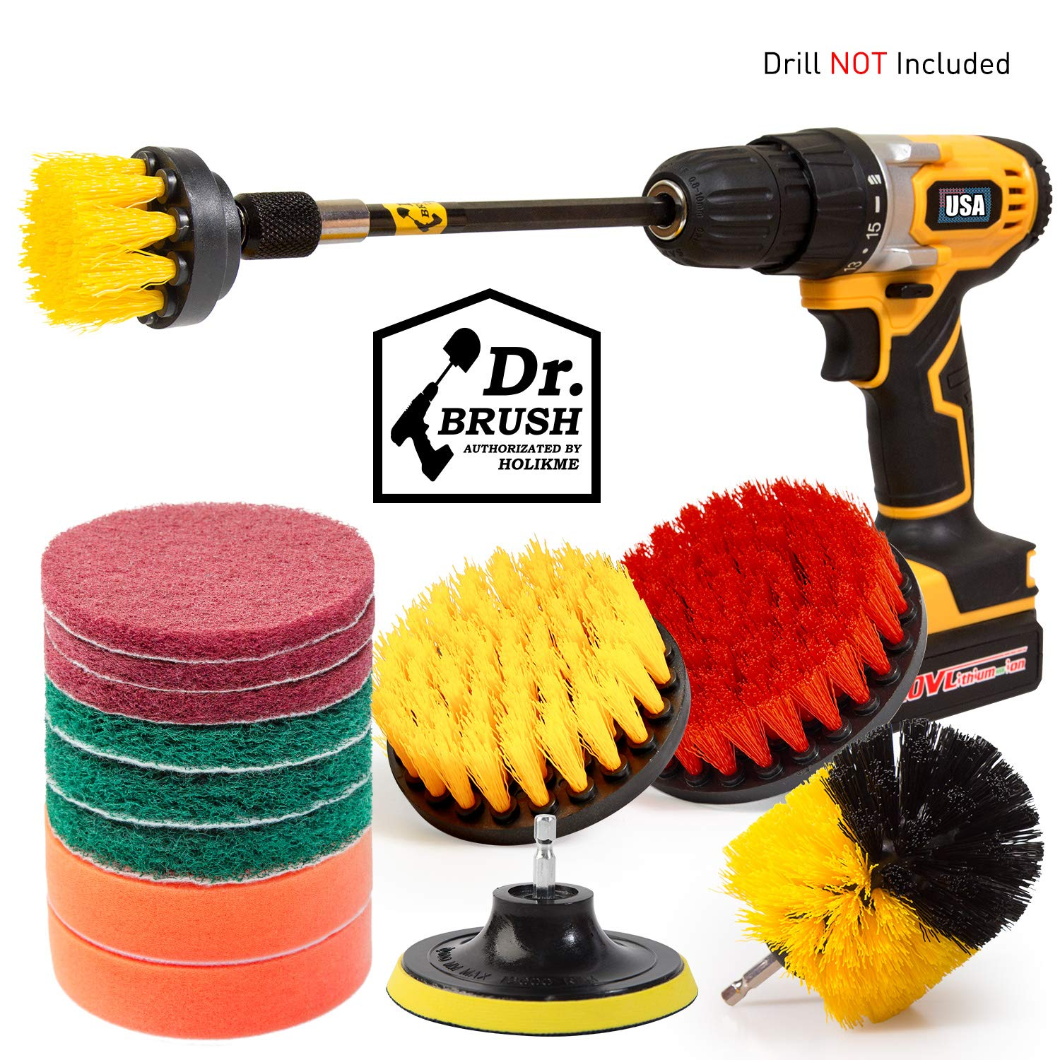 Holikme 14Piece Drill Brush Attachments Set, Scrub Pads & Sponge, Power Scrubber Brush with Extend Long Attachment All purpose Clean for Grout, Tiles, Sinks, Bathtub, Bathroom, Kitchen & Automobile