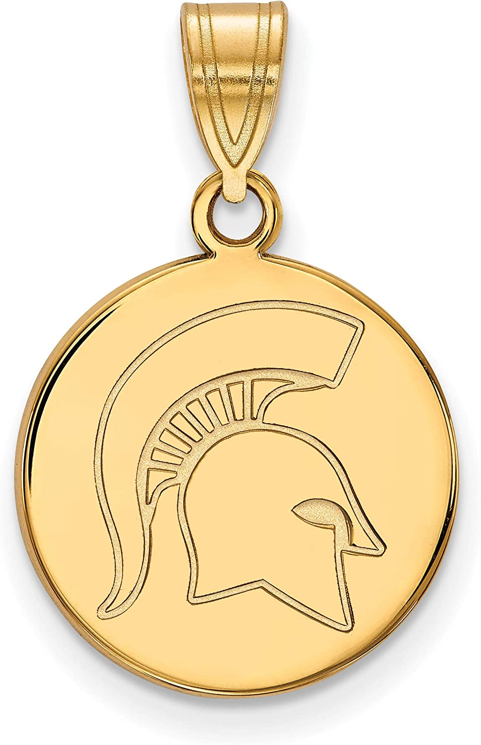 Michigan State University Spartans Mascot Pendant Necklace in Sterling Silver 13x11mm 18 Inches