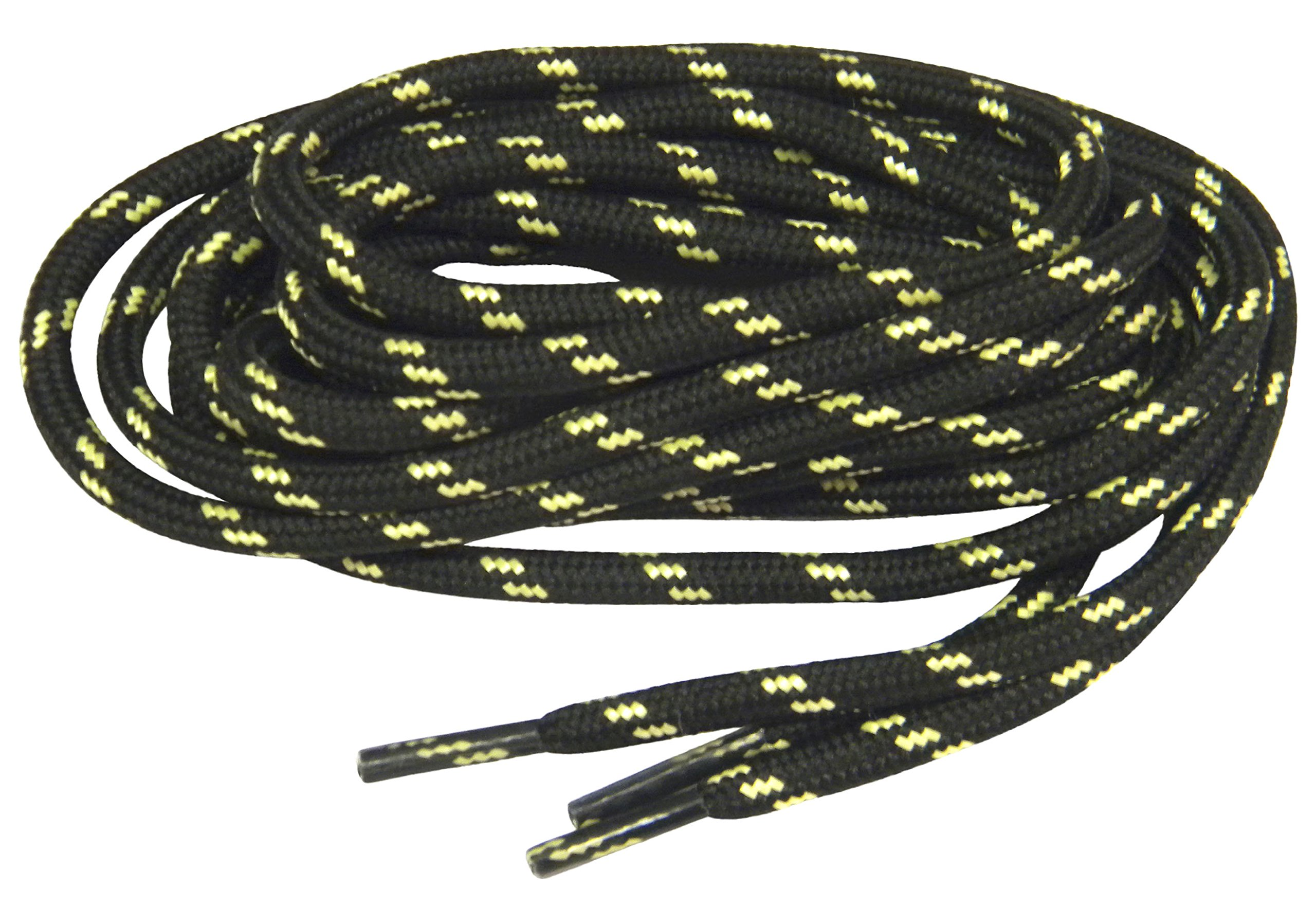 Black w/ Yellow Natural Kevlar proTOUGH(tm) Reinforced Heavy Duty Boot Laces Shoelaces (2 Pair Pack) (72 Inch 183 cm)