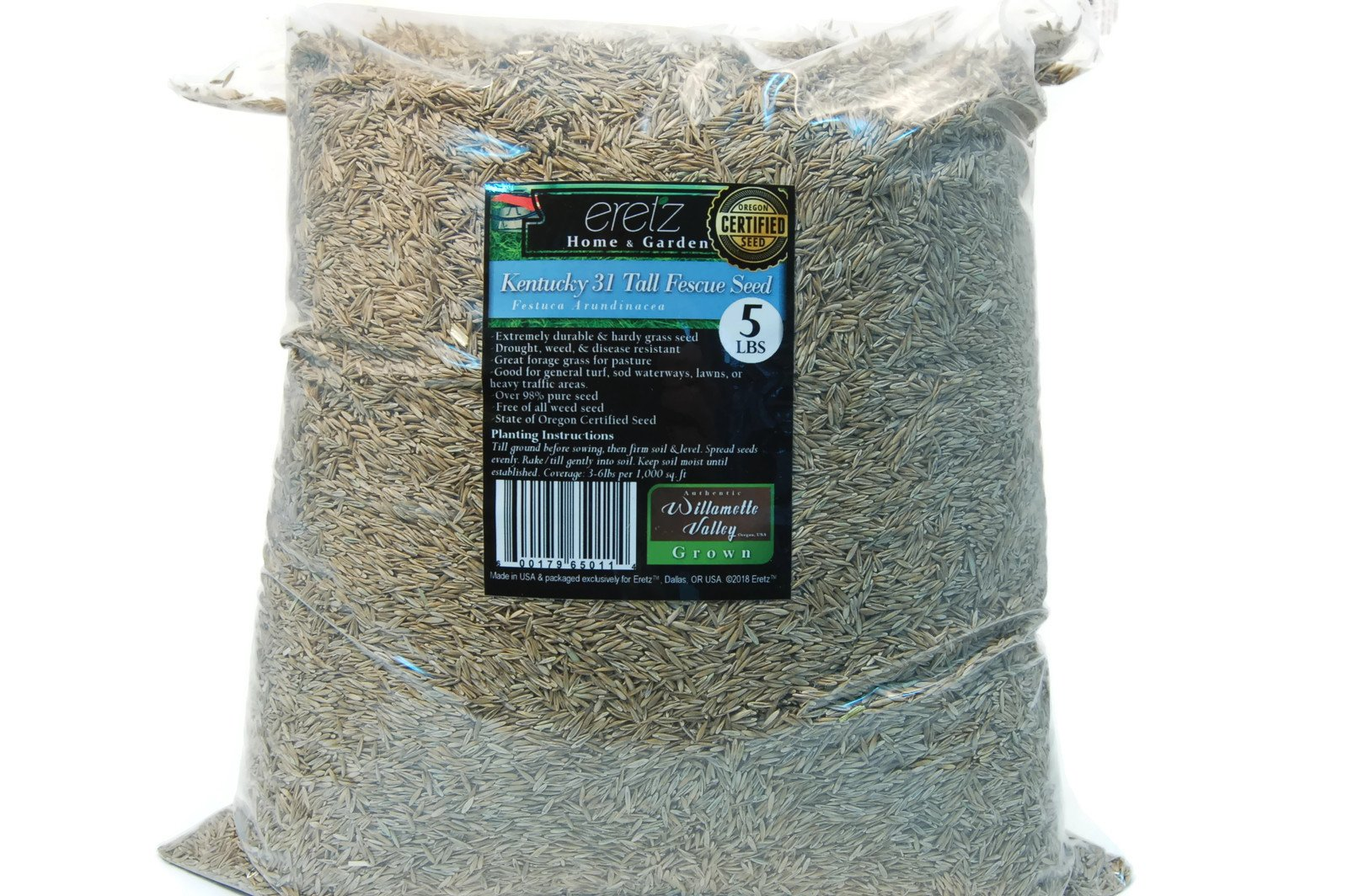 Kentucky K31 Tall Fescue Grass Seed by Eretz - Willamette Valley, Oregon Grown (5lbs)