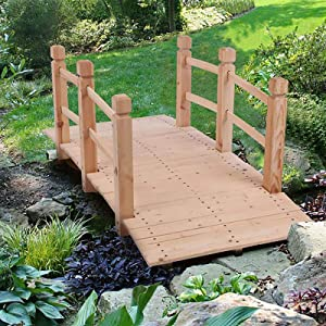 5 ft Garden Bridge,Wood Arc Stained Finish Footbridge with Rails for outside Length,Classic Decoration for Landscaping, Backyard Creek Pond or Farm (Beige)