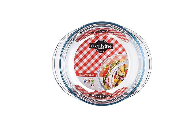 Ôcuisine Classic - Cacerola redonda de vidrio, 1 l, 25,7 x 11,9 x 21,1 cm, color transparente: Amazon.es: Hogar