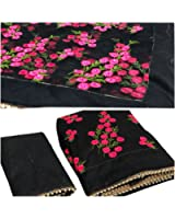 Orangesell Women's Mono net Embroidery work Saree With Blouse Piece