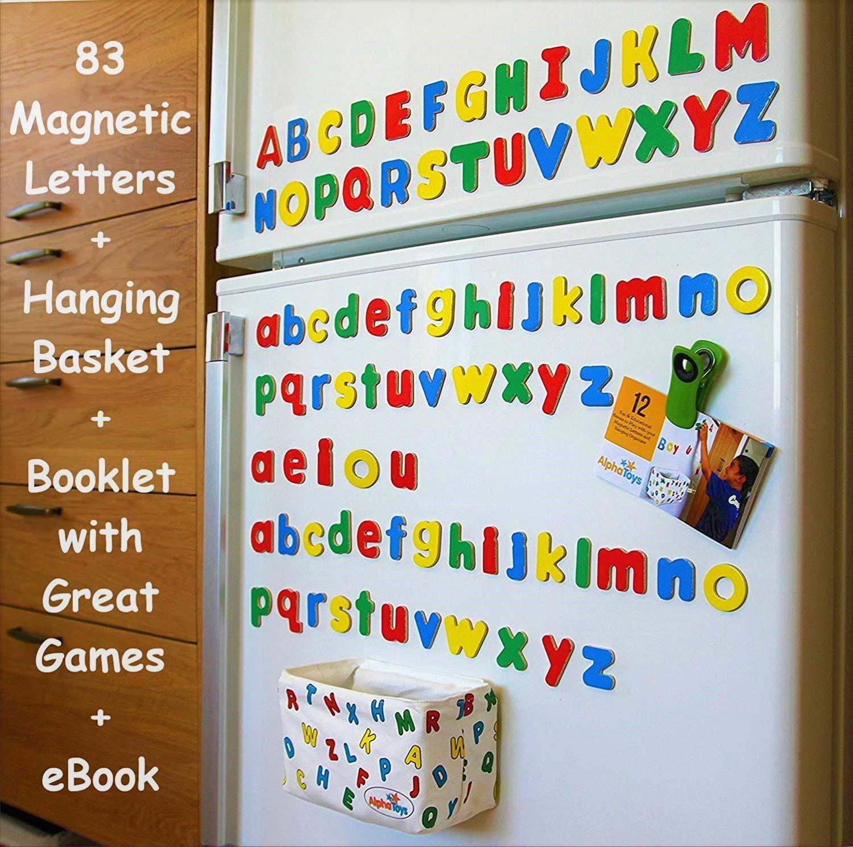 Alphatoys Magnetic Alphabet Wooden Letters 78 Abc Refrigerator