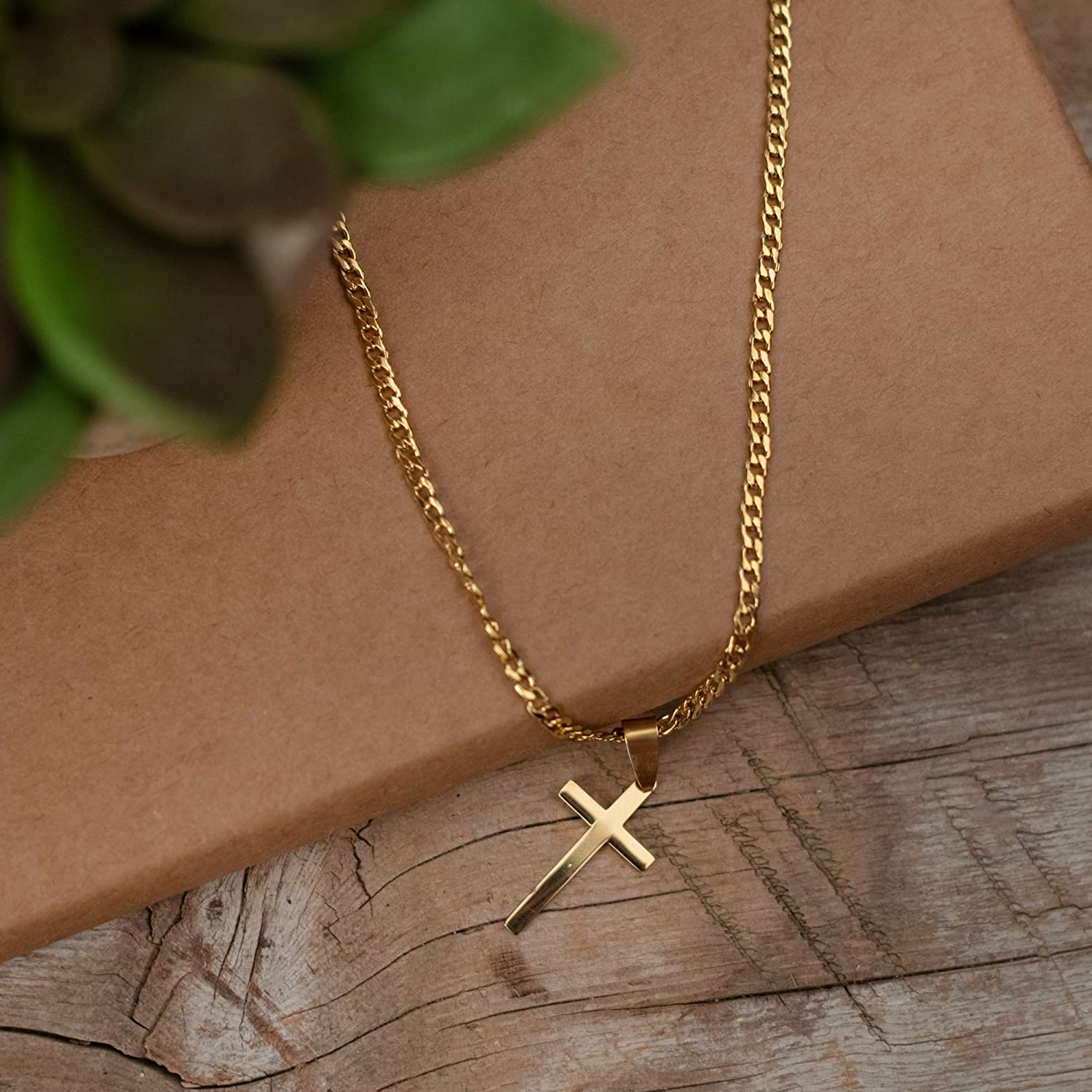 Dicksons Box Cross Pendant Mens 24 Inch Gold Plated Stainless Steel Everyday Necklace on Display Gift Card