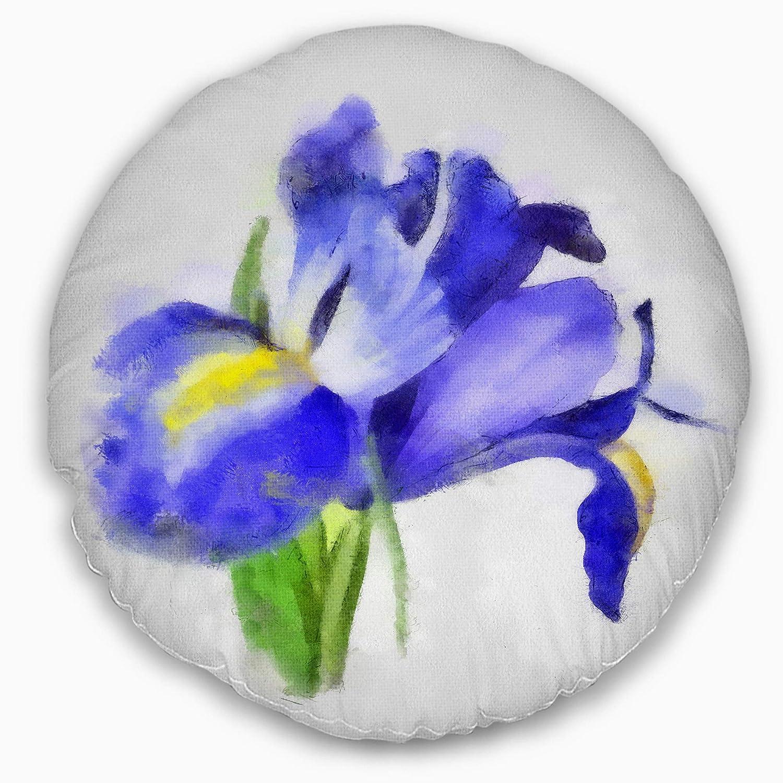 20 Designart CU13603-20-20-C Blue Iris Illustration Watercolor Floral Round Cushion Cover for Living Room Sofa Throw Pillow