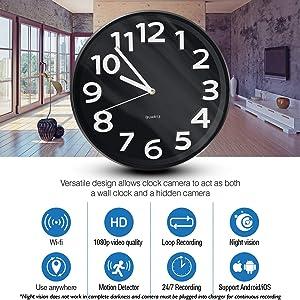NinjaPro 2-in-1 Hidden Camera Clock with 1080P HD Video Capturing, Night Vision, Motion Detection and Live Wireless App Access, Smart Hidden Home Surveillance, Nanny Cam, Spy Camera Wall Clock Camera