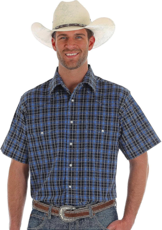 Wrangler Mens Wrinkle Resist Plaid Long Sleeve Shirt Blue Small