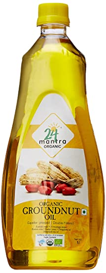 24 Mantra Organic Cold / Expeller Pressed Groundnut Oil, 1 L