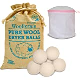 Wool Dryer Balls - Pack of 6 XL - Organic Natural Fabric Softener, Replaces Dryer Sheets, Chemical Free, Baby Safe, Shorten Drying Time, Reduce Wrinkles and Static - Lingerie Bra Laundry Bag Included