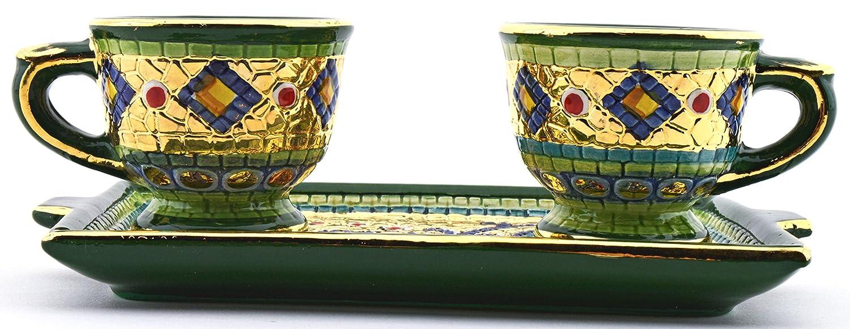 Art Escudellers Servicio CAFÉ Ceramica Pintado a Mano con Oro de 24K, Decorado al Estilo BIZANTINO Verde. 20,5cm x 12cm x 7cm: Amazon.es: Hogar
