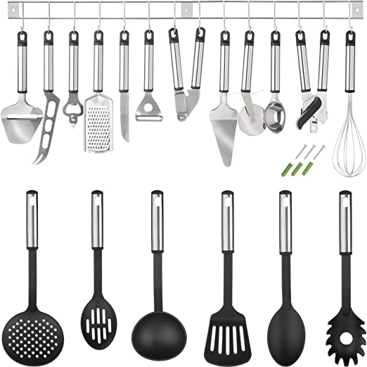 6 tlg Küchenhelfer Set Edelstahl Küchenutensilien Kochzubehör Küche Besteck NEU