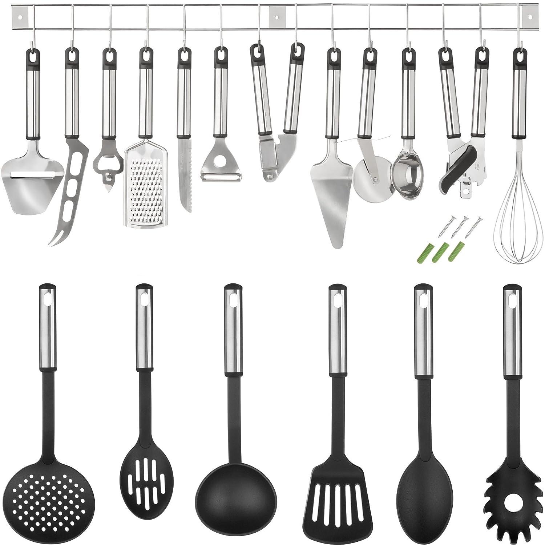 TecTake® Küchenbesteck Küchenhelfer Hängeleiste Küchenutensilien ...