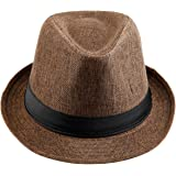 KYEYGWO Panama Fedora Hats for Men Woman, Braid Straw Short Brim Jazz Cap Trilby Hat