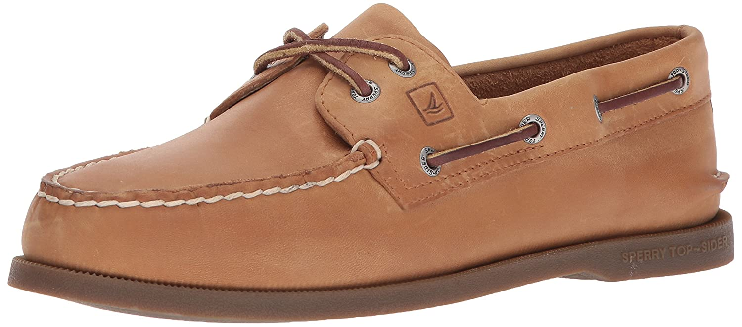 Sperry Top-Sider Men's Authentic Original 2-Eye Boat Shoes, Genuine All Leather and Non-Marking Rubber Outsole 8 M US|Sahara