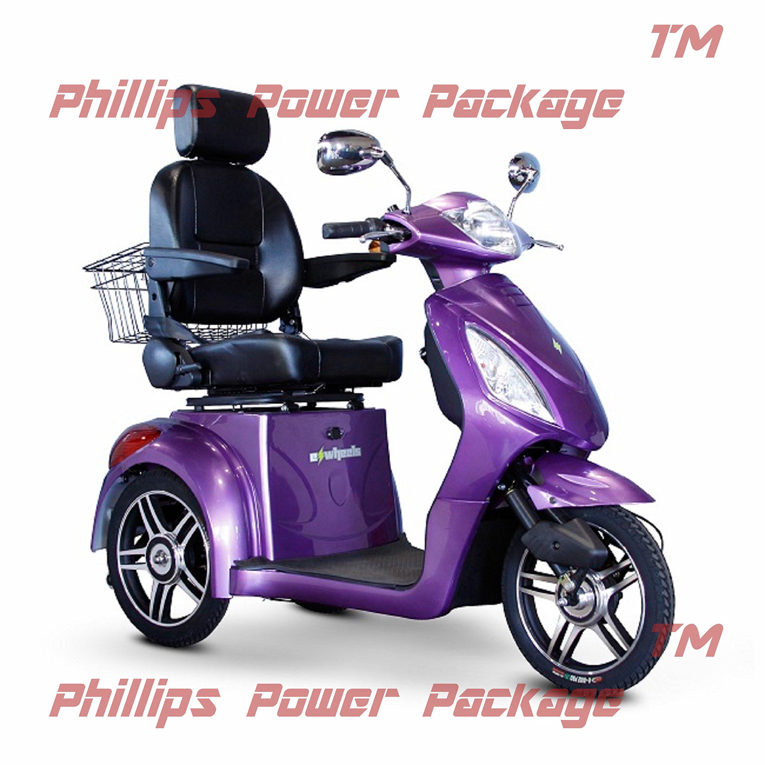 E-Wheels - EW-36 Full-Sized Scooter - 3-Wheel - Purple - PHILLIPS POWER PACKAGE TM - TO $500 VALUE