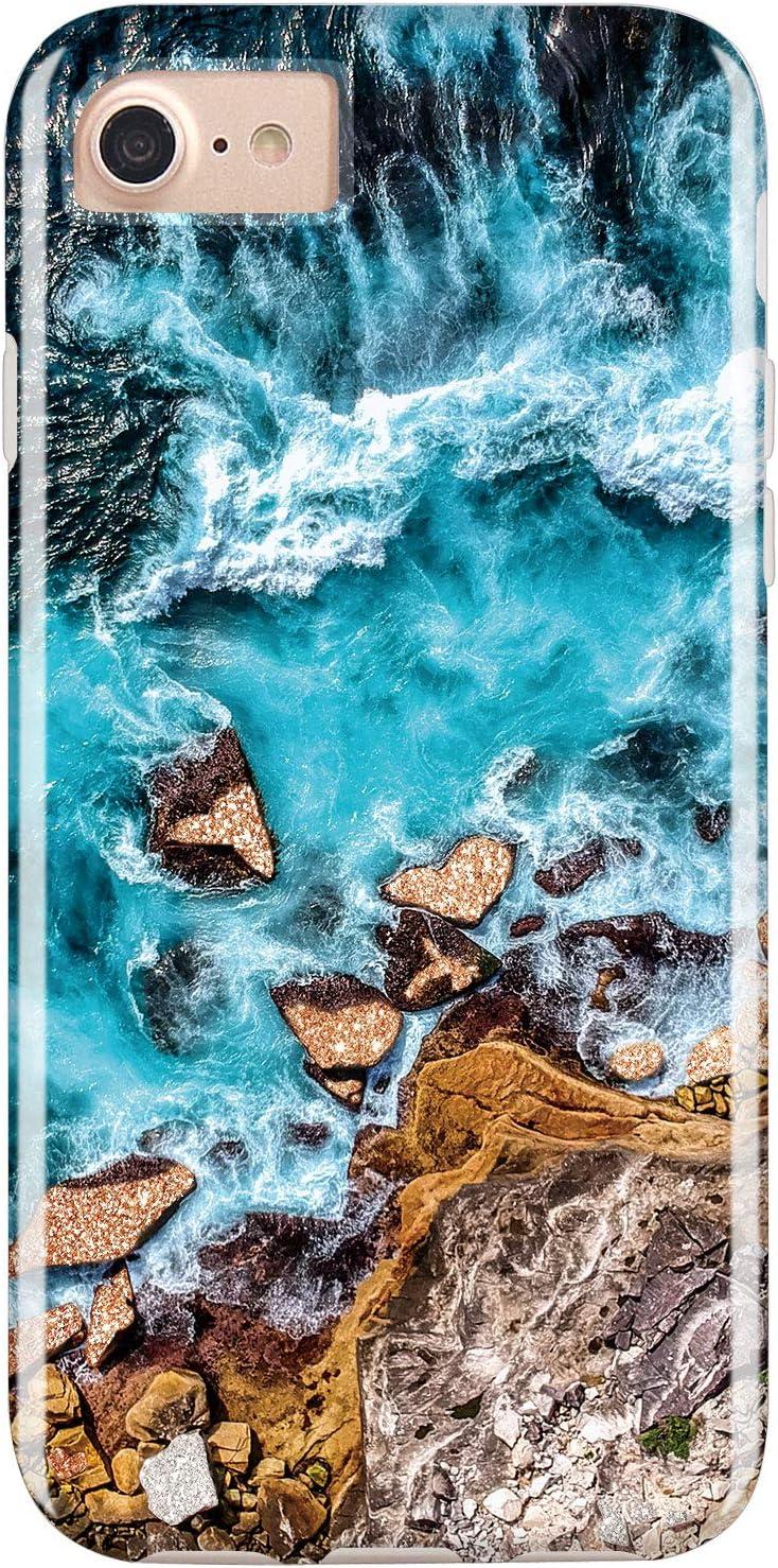 RXKEJI iPhone 7 Case iPhone 8 Case Actual Glitter Sparkle Beach Light Blue Sea Design Flexible Bumper TPU Soft Rubber Silicone Cover Phone Case for iPhone 7 iPhone 8 iPhone 6 6S