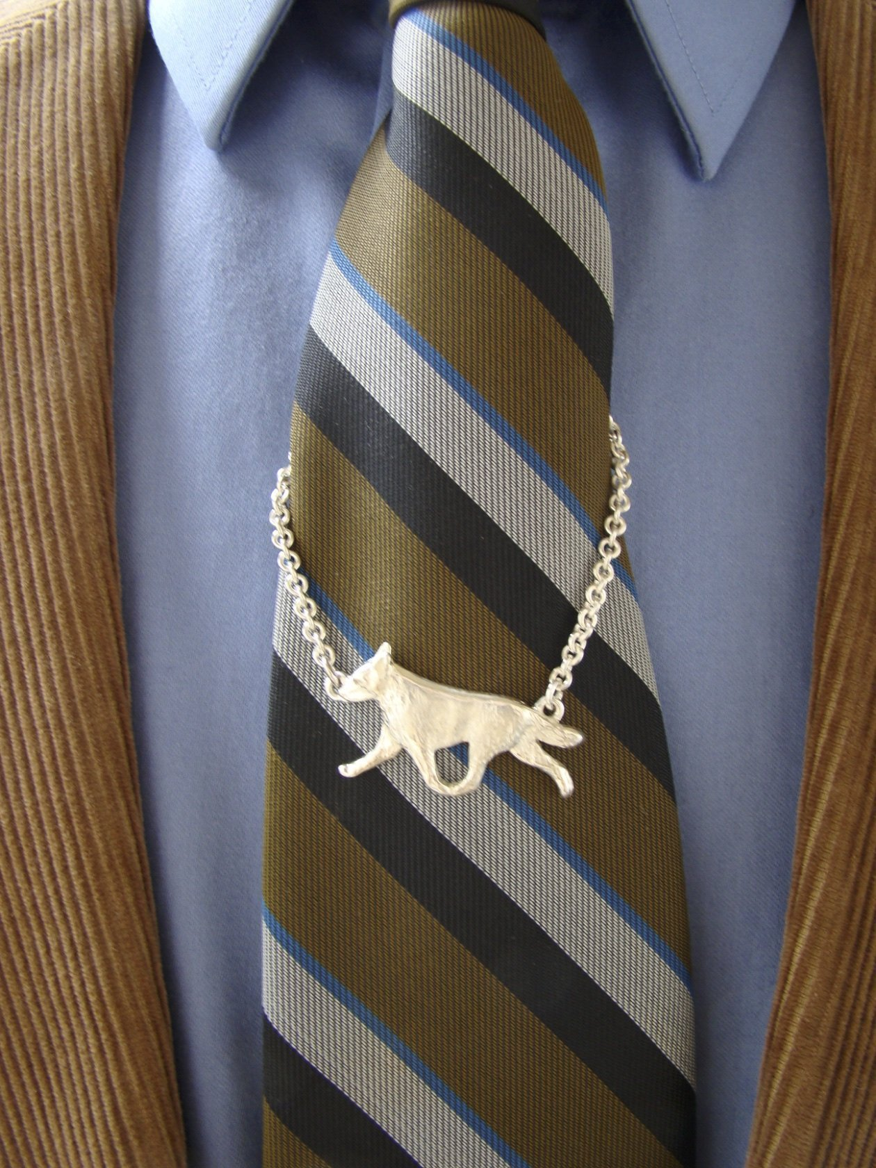 Large Sterling Silver Australian Cattle Dog Moving Study Tie Chain