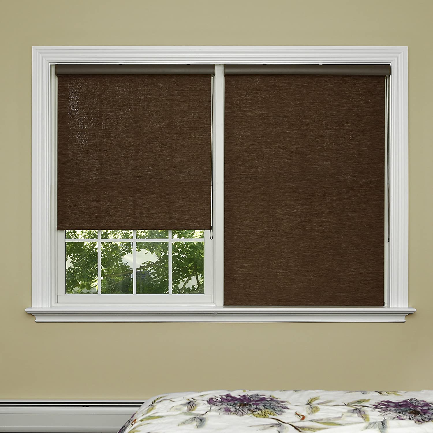 Best Home Fashion Closeout Premium Single Wood Look Roller Window Shade - Brown - 28