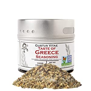 Gustus Vitae - Taste of Greece - Gourmet Seasoning - Artisanal Spice Blend - 2.7oz - Non GMO Verified - Magnetic Tin - Small Batch - Hand Packed