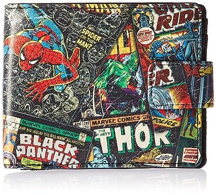 Marvel Comics para hombre negro tira de cómic fuera de impresión cartera en lata funda regalo