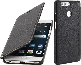 StilGut Book Type, Housse en Cuir sans Clip pour Huawei P9, en Noir