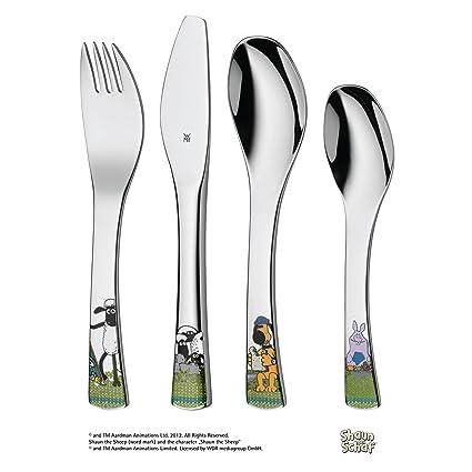 WMF 1294506040 Shaun Das Schaf – Juego de Cubiertos para niños – Niños Cuchara/Tenedor/Infantil, Acero Inoxidable, Plata, 22 x 15.5 x 2.5 cm, 4 ...