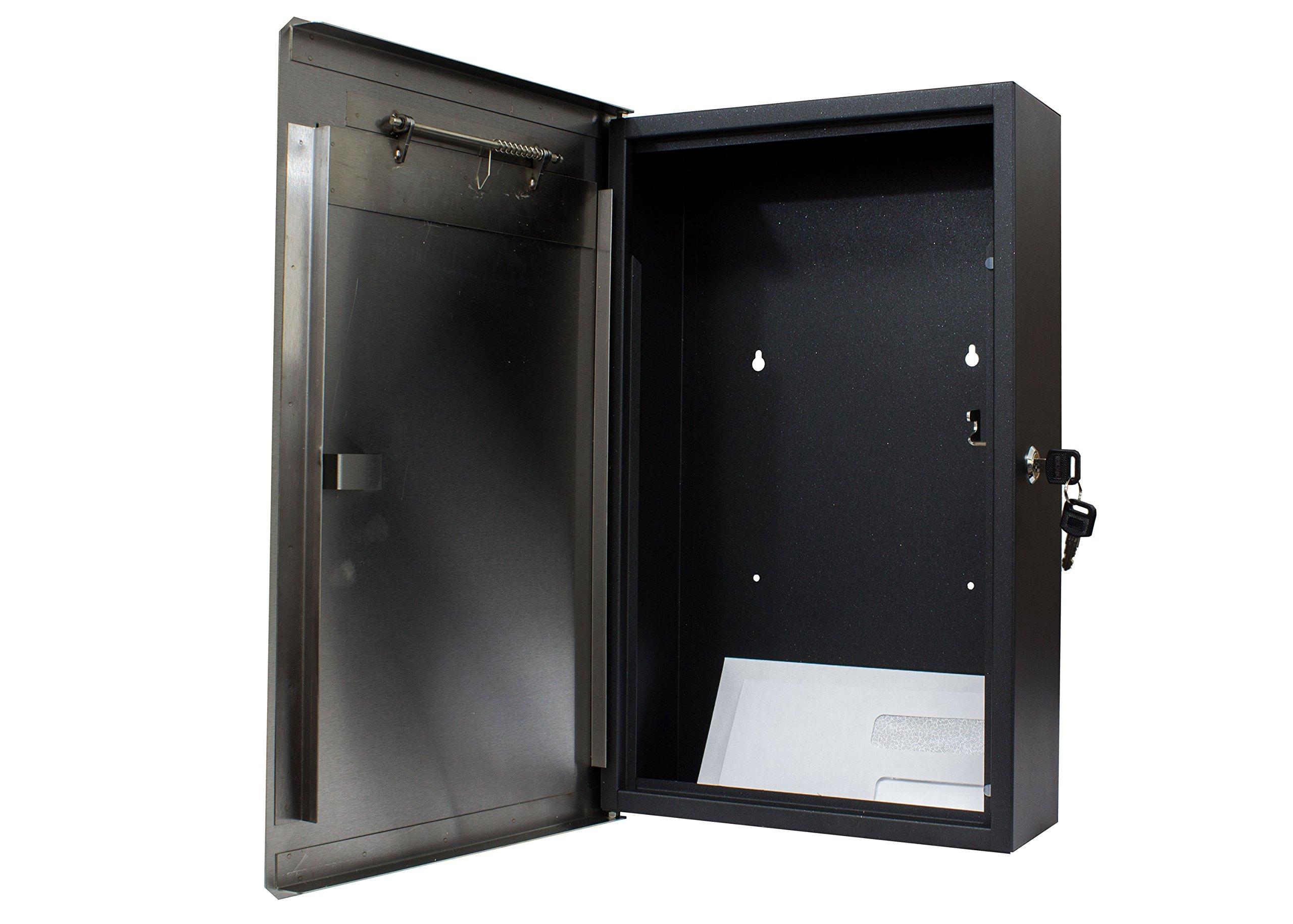 Qualarc WF-PM18 Verse Wall Mount Rectangular Stainless Steel Front Locking Mailbox, Silver/Black by Qualarc (Image #3)