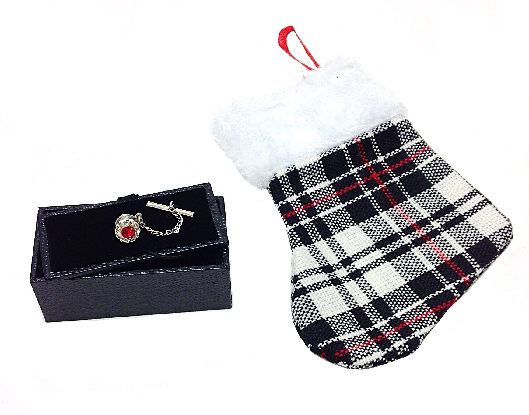 Red Accent Stone Gift Boxed Mens Tie Tack & Gift Stocking