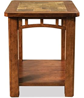 Riverside Furniture End Table With Natural Slate Insert Top