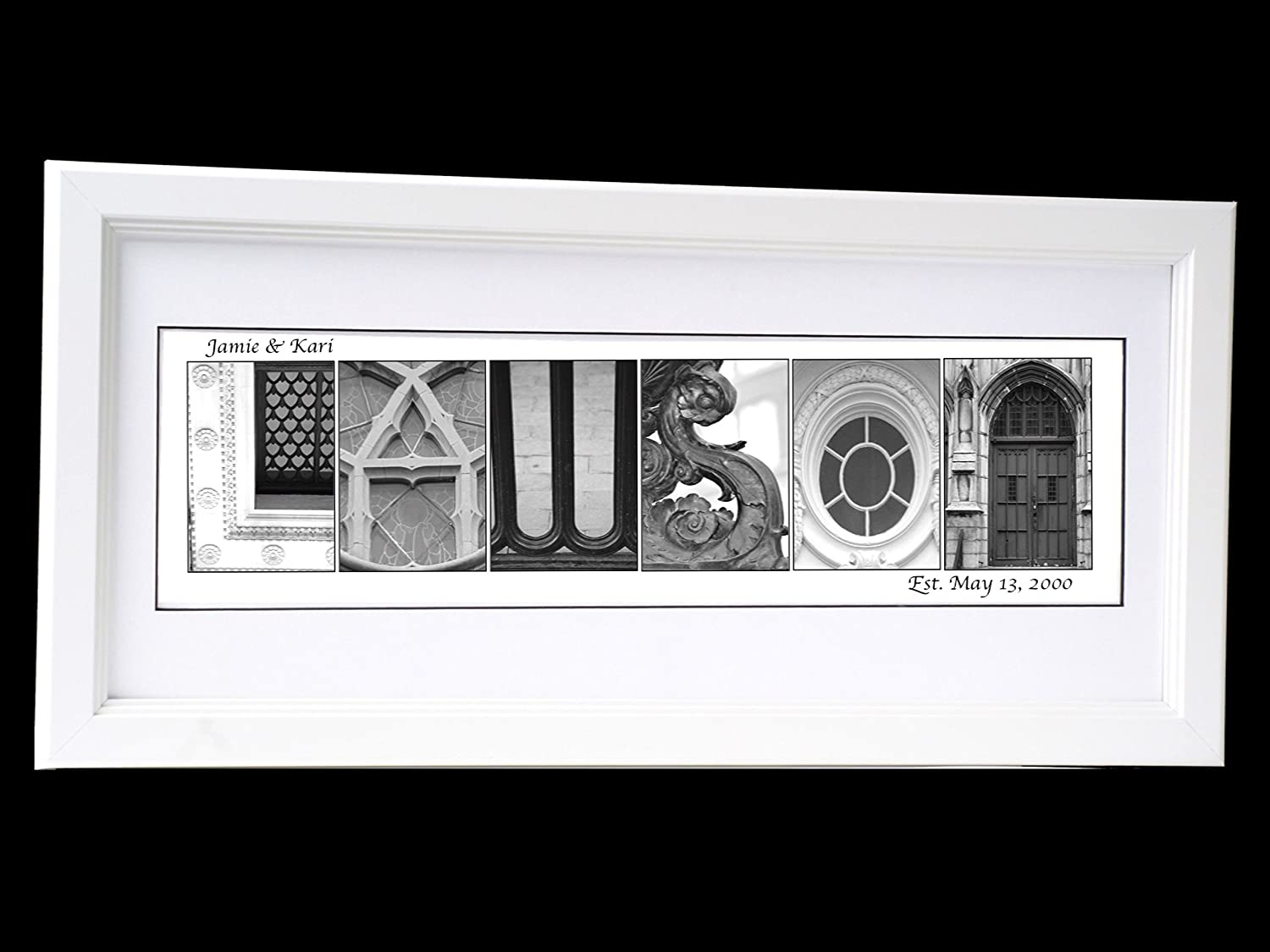 B00SNZWZ5W Creative Letter Art Wedding Bride and Groom Personalized 12 by 26 inch Self Standing Framed Name Created with Architectural Alphabet Photographs - Exclusively 811slkv41sL