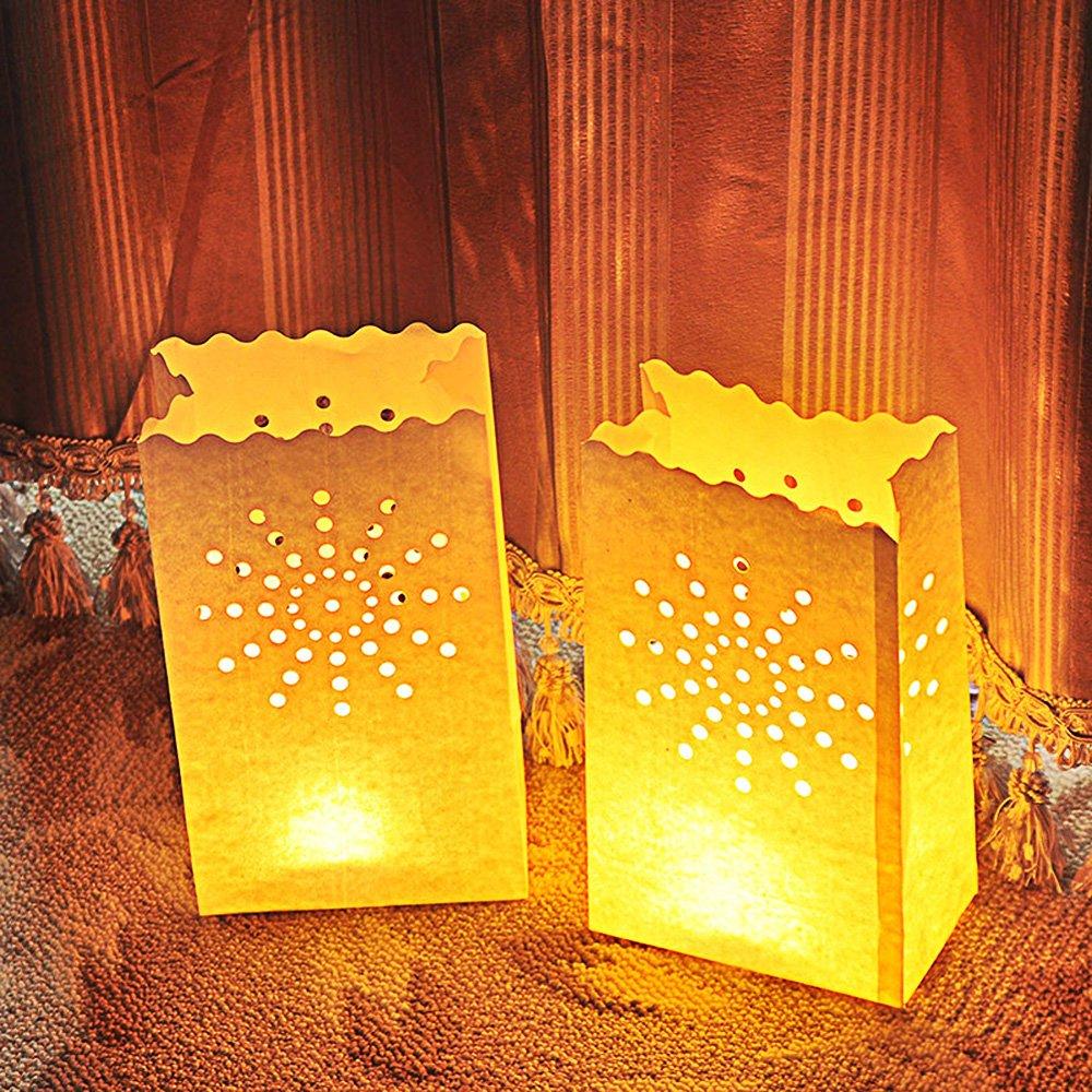 Iable 20個入れ白い紙製ライトキャンドルランタンバッグ ウェディングパーティーやBBQやクリスマスなどに最適 花火形 B01FP991X2 11439  花火