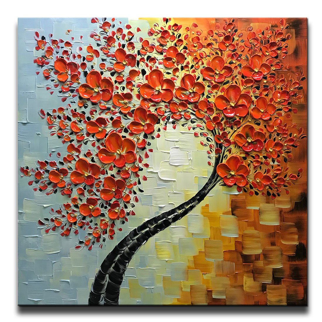 6cfbd2c3526f1 Asdam Art Paintings,Red Wall Art Abstract Tree Canvas Painting Flower  Artwork for Living Room Framed 32x32 Inch