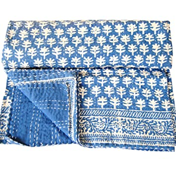 Amazon Com Ajanta Handicrafts Blue Indigo Queen Size Kantha Quilt