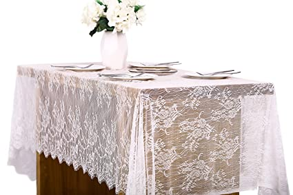 Letjolt White Lace Tablecloth Table Runner 60x120 Inch, Boho Wedding  Centerpiece Vintage Banquet Decor Rustic