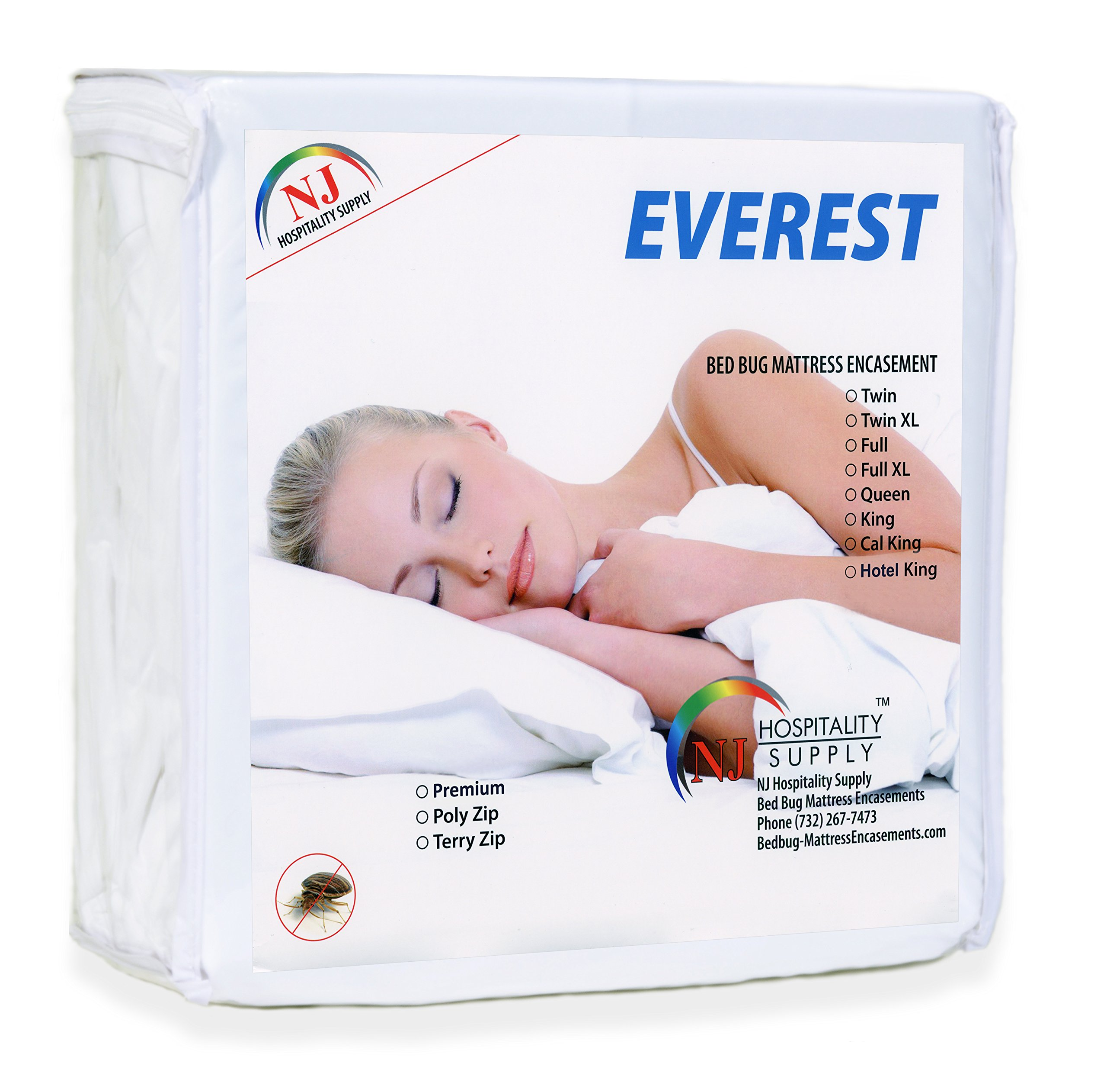 Everest Supply Premium Mattress Encasement Hotel Twin XL Size 36x80+9'' (fits 9-11'' Depth) 100% Waterproof, Bed Bug Proof, Hypoallergenic Protector, Six Sided Cover, Machine Washable.