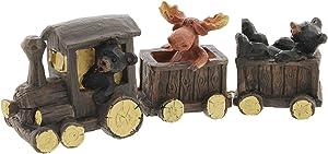 The Bridge Collection Black Bears & Moose Riding a Train Figurine
