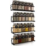 Space Saving Spice Rack Organizer for Cabinets or Wall Mounts - Easy To Install Set of 4 Hanging Racks - Perfect Seasoning Or