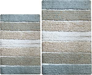 Chardin Home - 100% Pure Cotton - 2 Piece Cordural Stripe Bath Rug Set, (21''x34'' & 17''x24'') Gray-Beige with Latex Spray Non-Skid Backing, Machine Washable