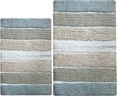 Amazon Com Chardin Home 100 Pure Cotton 2 Piece Cordural Stripe Bath Rug Set 21 X34 17 X24 Bluish Gray Beige With Latex Spray Non Skid Backing Machine Washable Home Kitchen