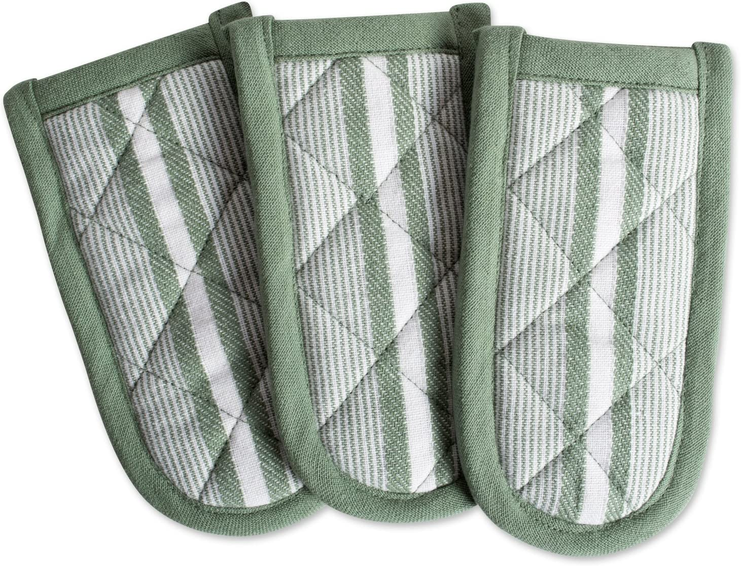 """DII Cotton Stripe Quilted Pan Handle, 6x 3"""" Set of 3, Machine Washable and Heat Resistant for Everyday Kitchen Cooking and Baking-Artichoke Green"""