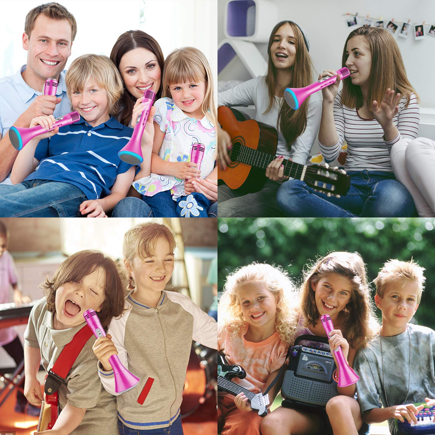 Kids Wireless Karaoke Microphone with Speaker Colorful LED Light for Girls Boys Toddlers Portable Handheld Bluetooth Music Toys for Singing Music Playing Party KTV Support iOS Android Birthday Gifts by iGeeKid (Image #7)